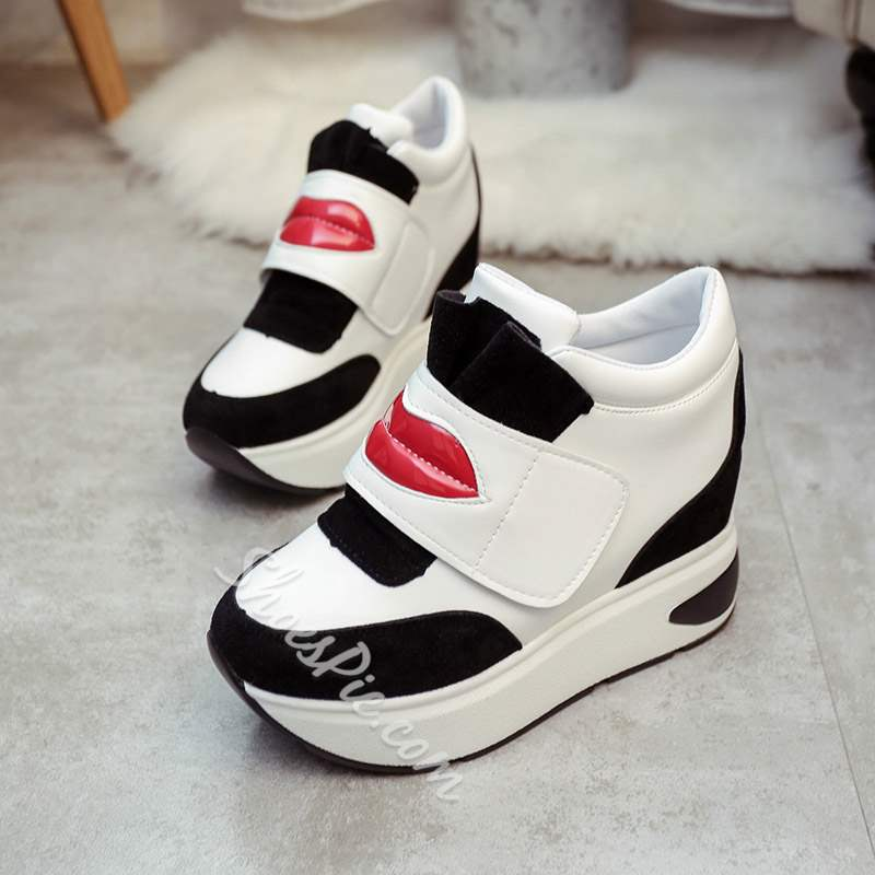 Shoespie Sexy Round Toe Mid-Cut Color Block Platform Sneakers