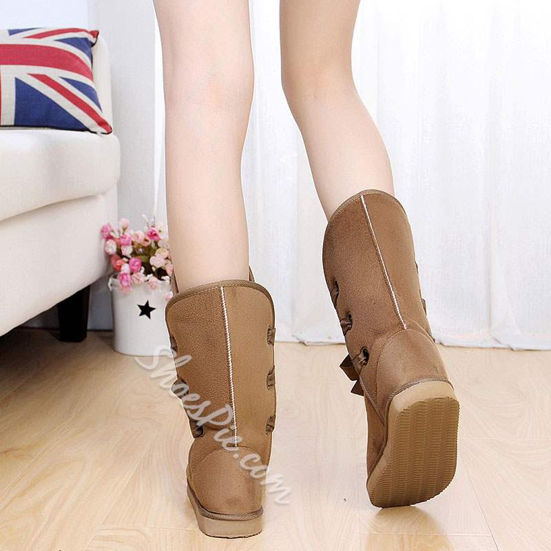 Shoespie Sexy Flat Lace-Up Thread Ankle Snow Boots