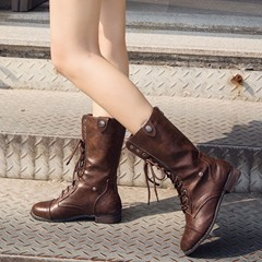 Shoespie Trendy Lace-Up Round Toe Martin Ankle Boots