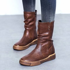 Shoespie Trendy Side Zipper Round Toe Platform Ankle Boots