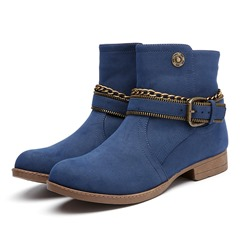 Shoespie Stylish Round Toe Side Zipper Short Floss Ankle Boots