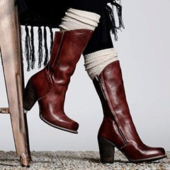 Shoespie Trendy Plain Chunky Heel Western Knee High Boots