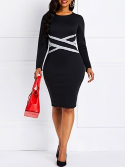 Long Sleeve Patchwork Color Block Women's Bodycon Dress