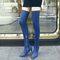 Shoespie Denim Slip-On Stiletto Heel Thigh High Boots