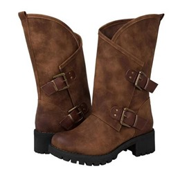 Shoespie Sexy Round Toe Side Zipper Buckle Ankle Boots
