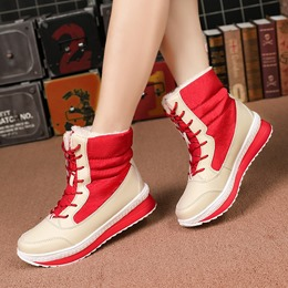 Shoespie Sexy Round Toe Lace-Up Plush Snow Boots