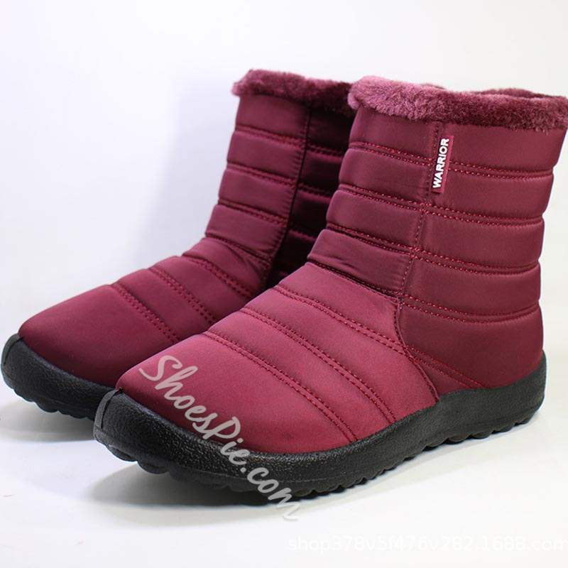 Shoespie Casual Side Zipper Round Toe Flat Snow Boots