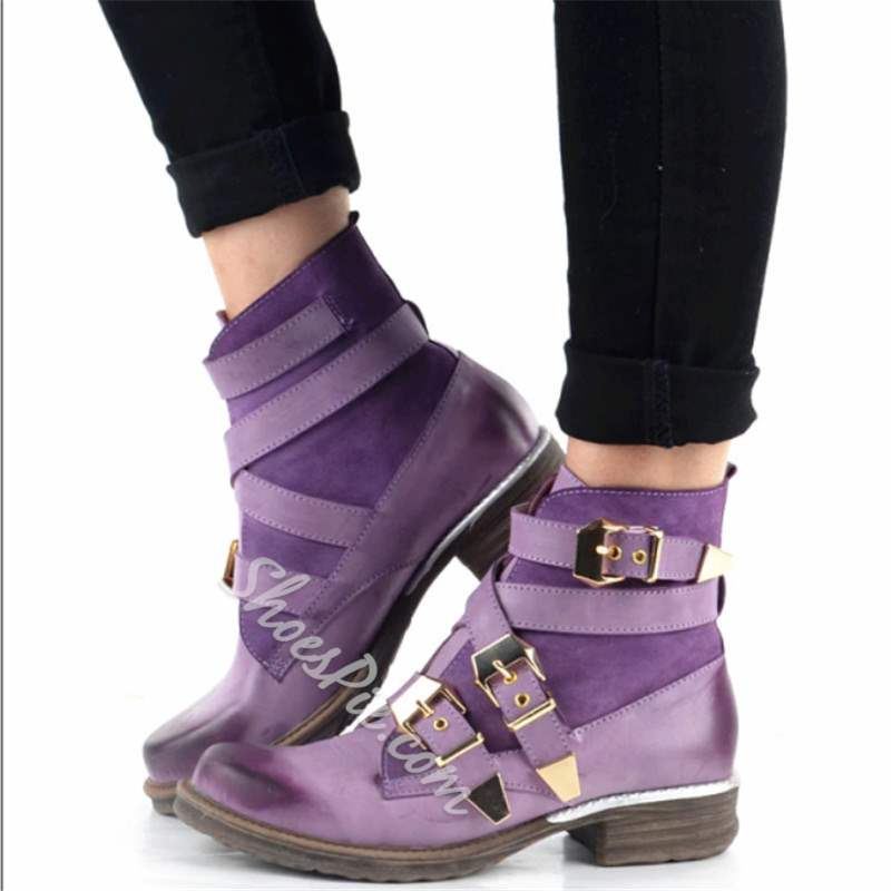 Shoespie Stylish Hasp Round Toe Flat Buckle Ankle Boots