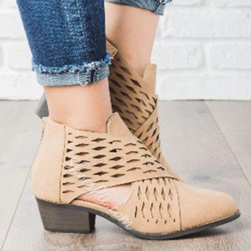 Shoespie Sexy Hollow Round Toe Chunky Heel Ankle Boots