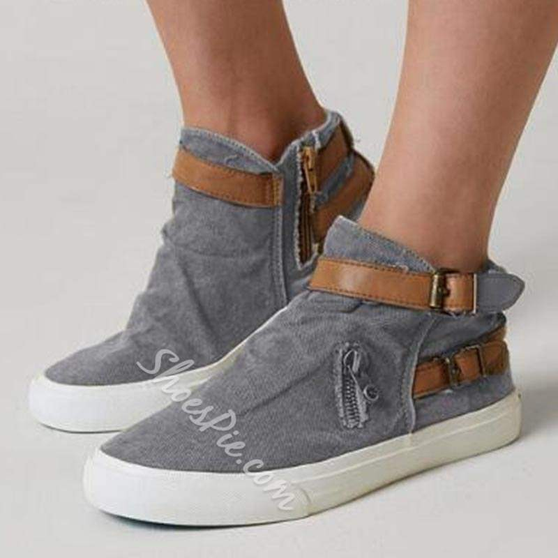 Shoespie Vintage Zipper Buckle Round Toe Canvas Sneakers