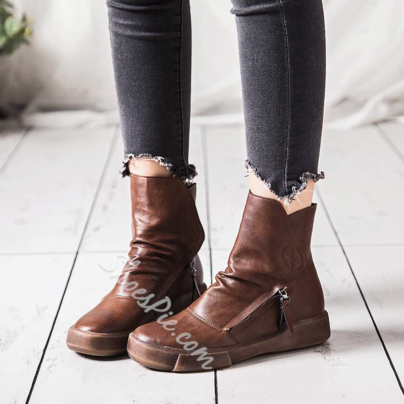 Shoespie Sexy Side Zipper Round Toe Short Floss Ankle Boots