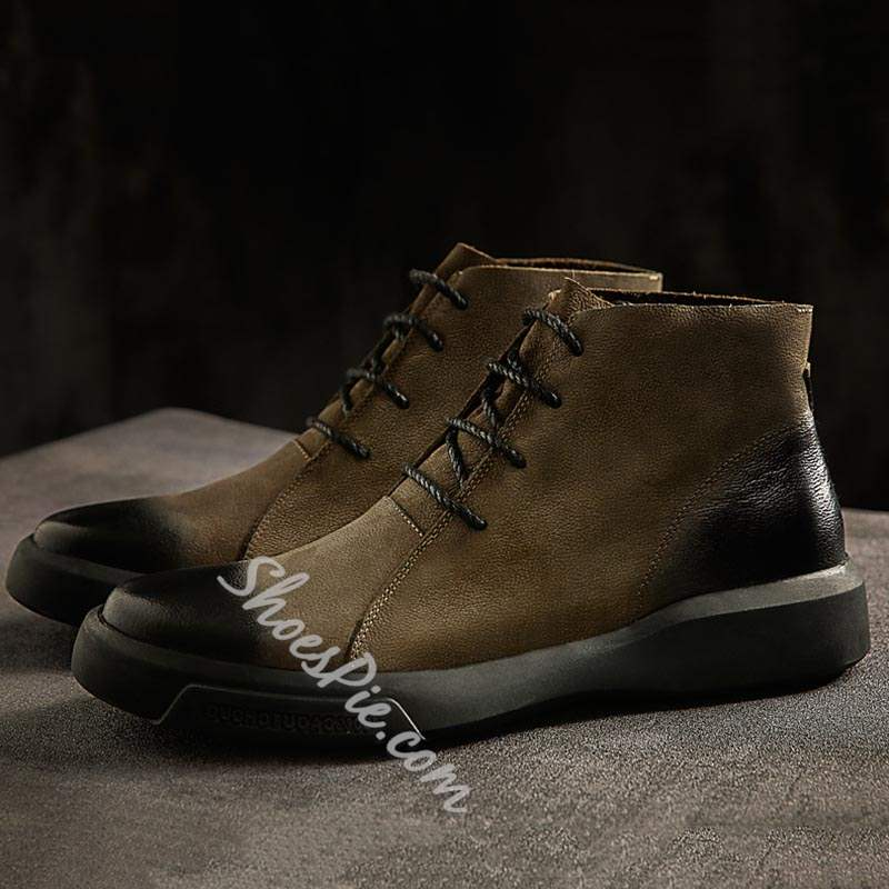 Shoespie Lace-Up Front Round Toe PU Men's Boots