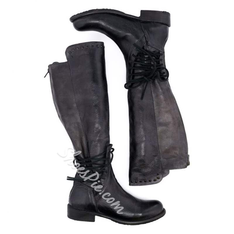 Shoespie Vintage Round Toe Rivet Lace Up Knee High Boots