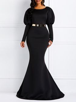 Round Neck Long Sleeve Patchwork Pullover Women's Maxi Dress