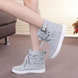 Shoespie Stylish Round Toe Flat Plain Cotton Sneakers