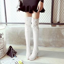 Shoespie Trendy Plain Chunky Heel Round Toe Thigh High Boots