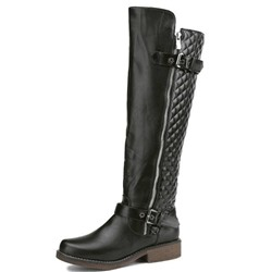 Shoespie Block Heel Round Toe Side Zipper Knee High Boots