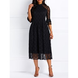 Ankle-Length Fall Hollow Elegant Women's A-Line Dress