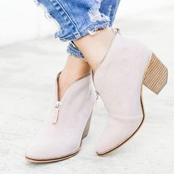 Shoespie Stylish Chunky Heel Zipper Round Toe Ankle Boots