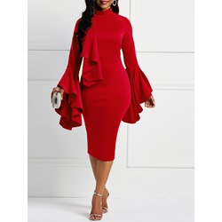 Long Sleeve Falbala Patchwork Women's Bodycon Dress