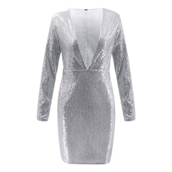 Sequins V-Neck Long Sleeve Bodycon Women's Bodycon Dress