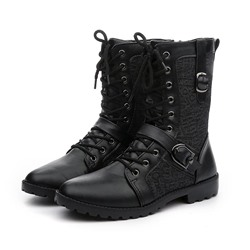 Shoespie Side Zipper Round Toe Patchwork Men's Ankle Boots