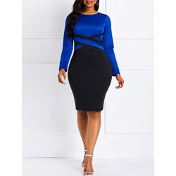 Knee-Length Patchwork Long Sleeve Casual Women's Bodycon Dress