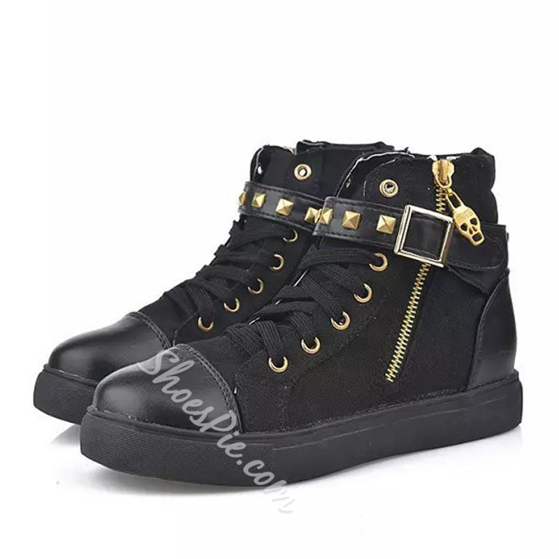 Shoespie Sexy Side Zipper Plain Round Toe Rivet Sneakers