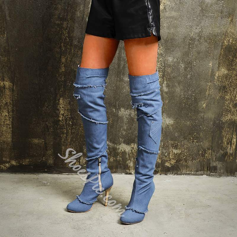 Shoespie Stylish Denim Over Knee High Boots