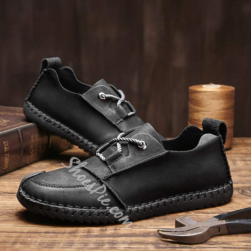 Shoespie Lace-Up Low-Cut Upper Round Toe Men's Loafers