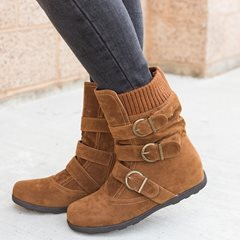 Shoespie Suede Side Zipper Round Toe Buckle Ankle Boots