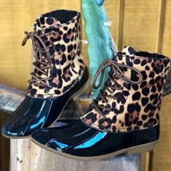 Shoespie Sexy Lace-Up Block Heel Leopard Rain Boots