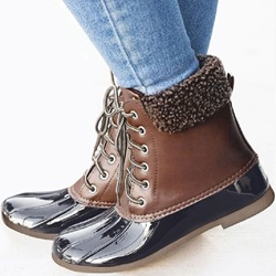 Shoespie Trendy Color Round Toe Block Heel Rain Boots
