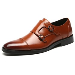 Shoespie Low-Cut Upper Buckle Round Toe Men's Leather Shoes