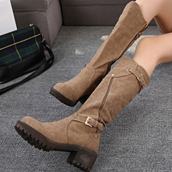 Shoespie Stylish Chunky Heel Zipper Knee High Boots