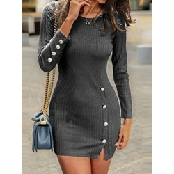 Above Knee Date Night/Going Out Button Women's Bodycon Dress