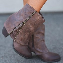 Shoespie Trendy Patchwork Round Toe Side Zipper Ankle Boots