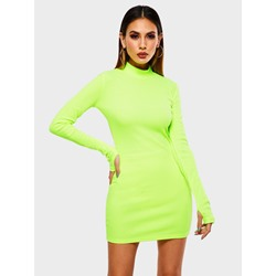 Above Knee Long Sleeve Bodycon Women's Bodycon Dress