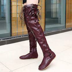 Shoespie Sexy Round Toe Side Zipper Block Heel Thigh High Boots
