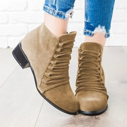 Shoespie Stylish Block Heel Side Zipper Ankle Boots