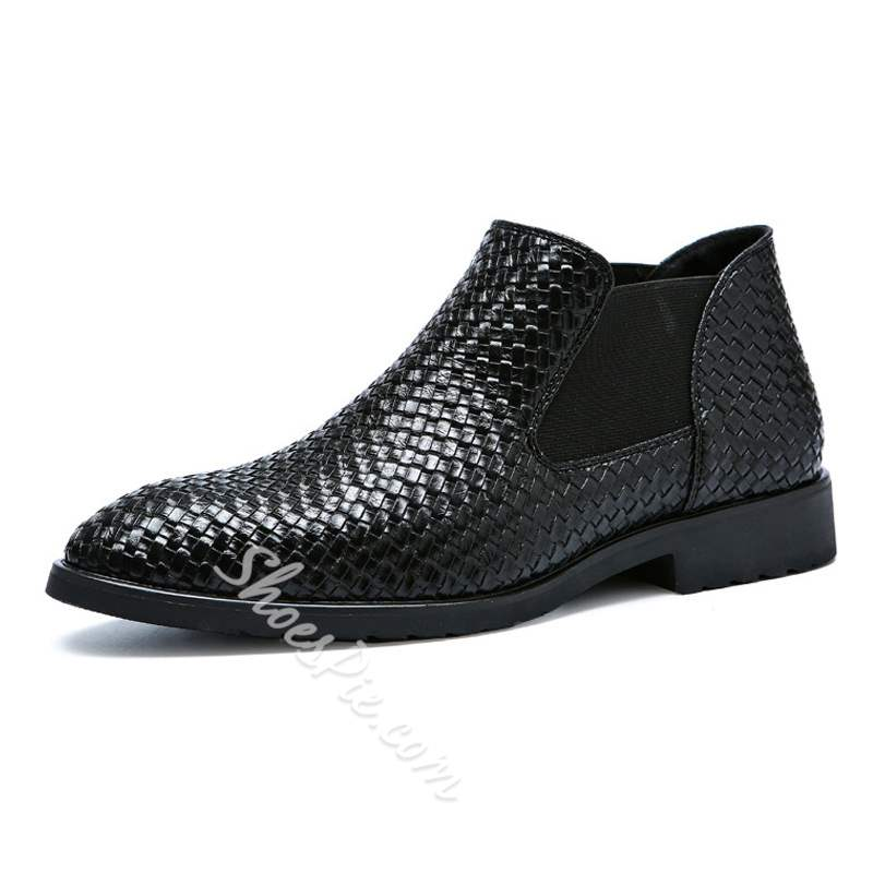 Shoespie Mid-Cut Upper Round Toe Men's Leather Shoes