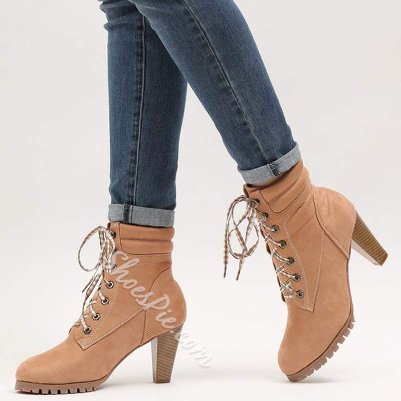 shoespie Trendy Chunky Heel Lace-Up Ankle Boots