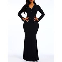 V-Neck Long Sleeve Button Casual Patchcowork Women's Maxi Dress