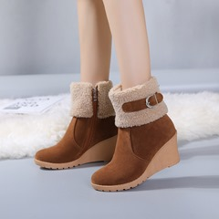 Shoespie Trend Wedge Side Zipper Short Floss Ankle Boots
