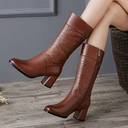 Shoespie Sexy Round Toe Chunky Heel Knee High Boots