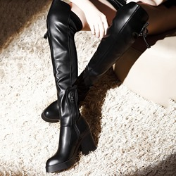 Shoespie Trendy Round Toe Side Zipper Thigh High Boots