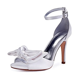 Shoespie Stylish Peep Toe Stiletto Heel Bow Low-Cut Wedding Shoes