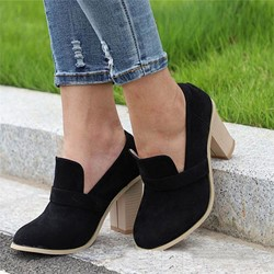 Shoespie Stylish Round Toe Slip-On Chunky Heel Loafers