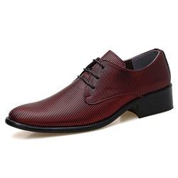 Shoespie Stripe Leather Men's Oxford Shoes