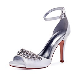 Shoespie Sexy Peep Toe Buckle Rhinestone Low-Cut Wedding Shoes